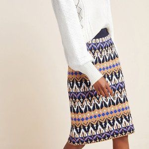 NEW Anthropologie Saoirse Knit Pencil Midi Skirt L